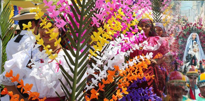 flowers and Palms festival in Panchimalco